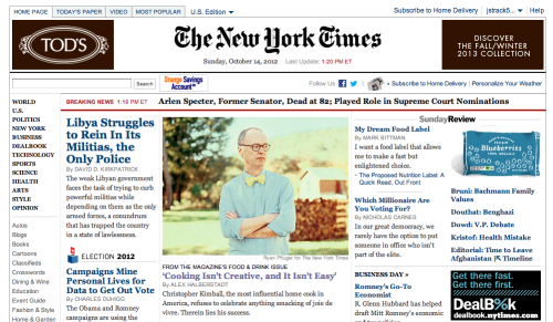 3rd time one of my portraits has been on the front of http://www.nytimes.com/ - still completely awesome with a slice of humble pie.