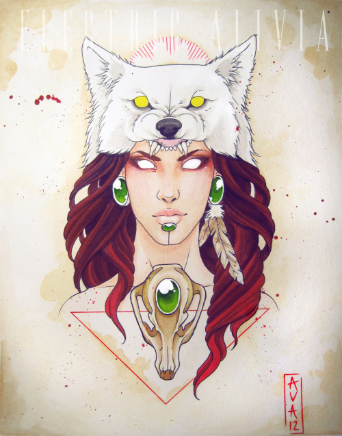 electricalivia:  Mononoke inspired watercolor painting. Prints and iPhone cases *HERE*