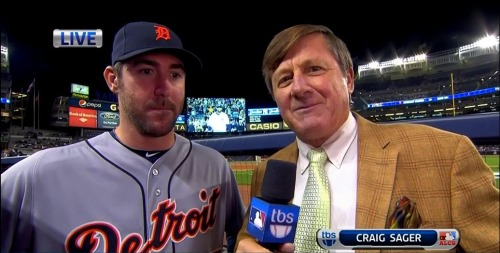 MLB ALCS Game 1 - Tigers @ Yankees Craig Sager pre-game interview w/ Justin Verlander