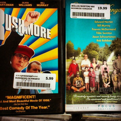 Wes Anderson movie collection is now complete. #rushmore #moonrisekingdom #wesanderson #film #sohappy (Taken with Instagram)
