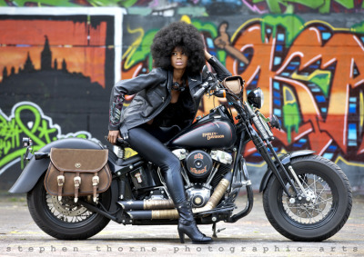 Black Harley, big 'fro. Foxy lady.