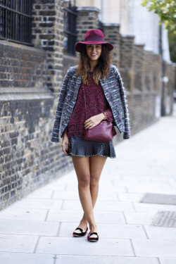 ivsmanifiesto:  The perfect winter outfit. Isabel Marant jacket, Zara lace shirt, Zara leather skirt, Céline burgundy clutch and Miu Miu loafers.