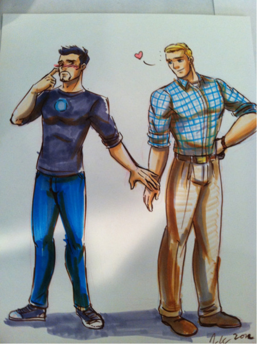 Drew this at Yaoi Con. Apparently this pairing is known as Stony. I'd been calling them 'Captain Man'.