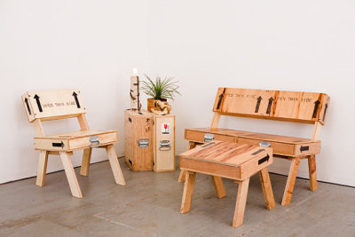 New uses for old crates, continued: Upcycle them into furniture.  AutumnWorkshop made the items pictured above.