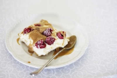 Raspberry Vanilla Ice Cream with Butterscotch with recipe (link)