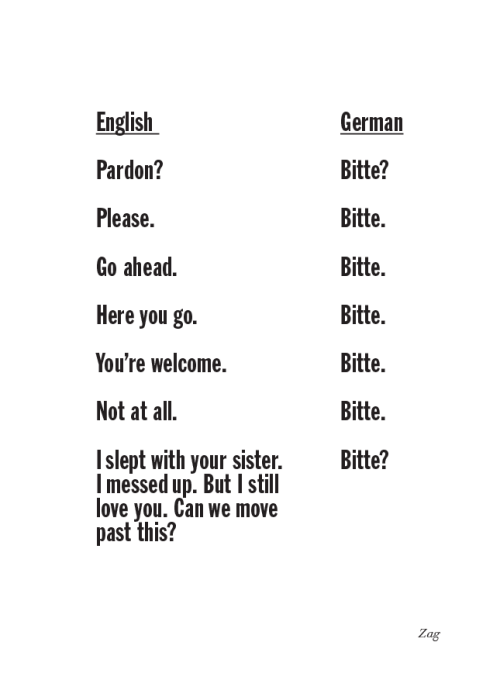 "yveinthesky:  lingster-german:  shahirzag:  Bitte.  Hahaha. Bitte is really a versatile German word.  Your forgot BITTE! for ""Please move your car out of the way… BITTE! >( "" or ""Here take the fucking money and leave BITTE!"""