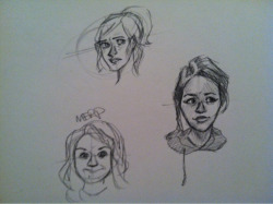 Drawing faces while looking at pictures of myself so these all vaguely resemble me