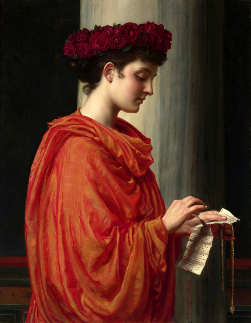 "books0977:  Barine (c1894). Sir Edward John Poynter (British, Academic, 1836-1919). Oil on canvas. Horace's Faithless Barine is about a calculating temptress who breaks the heart of every man she meets, leaving only ""a train of slaves [which] grows every day."" Poynter ingeniously utilizes subtle symbolism. The maiden is crowned by red roses, a traditional representation of passion, as she gently tears a love letter in two. The notion of ""undying devotion"" has fallen upon deaf ears as Barine coldly dismisses the token of love with what appears to be the beginnings of a grin upon her face."