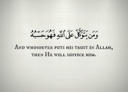 "alittleheartandruh:  ""And whosoever puts his trust in Allah, then He will suffice him."" -Holy Qur'an (65:3)"