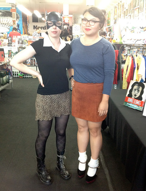"Another couple of examples of amazing Daniel Clowes character costumes. Timony Siobhan as ""Give me all your money, Bitch!"" Enid, and Jessica Gao as Little Enid. Taken at Meltdown Comics, Hollywood, April 2012."