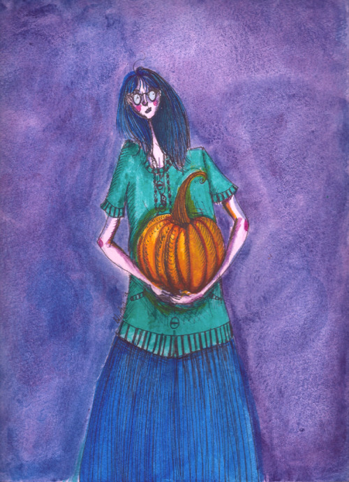 Updated self-portrait because I love pumpkins. Also scanner problems solved (for now) but, one day I want one that's specifically designed to scan art insted of an HP printer. :(