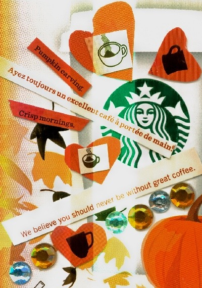 Starbucks Tribute ATC-made entirely of a Pumpkin Spice Latte package.  I had too much fun with this.