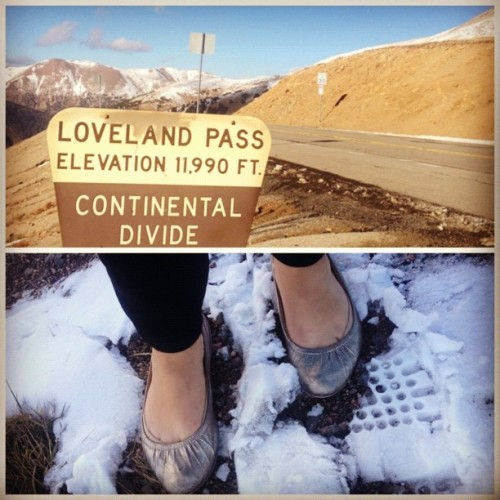 shakespeareandshoes:  #shoesoftheday: at 12,000 ft #denver (Taken with Instagram)  The other night, I was sorting through some boxes I'd shoved into a closet shortly after I moved and found a roll of photos taken with a Lomo Fisheye camera I've long since lost. Several shots were taken in my freshman-year dorm room. Most, though, were warped, stretched, and pinched pictures of the view out of the backseat of my friend's car, driving out of Loveland Pass. I believe they were taken on the day I finally skied a blue run at Keystone with confidence and without thinking about what I was doing; on the drive home, it started snowing, and Jared drove with his goggles on. I was terrified. Skiing every weekend is the only thing I miss about Colorado. I never skied down the Pass, though. When my dad and I were back at Keystone a few years after those pictures were taken, we drove back to the airport via the Pass. I very nearly unpacked my skis and boots. I didn't. I haven't been back since.