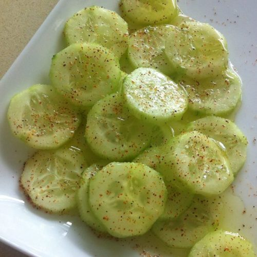 beautifulpicturesofhealthyfood:  Cool (and spicy) as a Cucumber!! Great snack or side to any meal! Slice a cucumber and add lemon juice, olive oil, salt and pepper and chile powder or cayenne pepper on top! So delish!