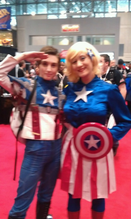 "Blurry, but this is me and an awesome 40s Cap! He had ""Property of Stark Industries"" spraypainted on his butt. XD"