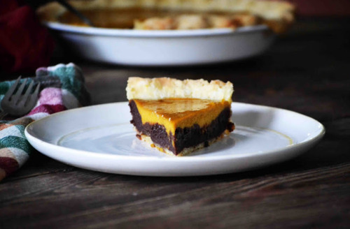 bakeddd:  pumpkin brownie pie click here for recipe