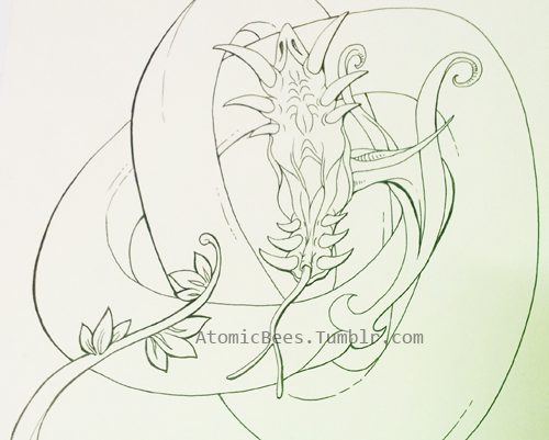 So I wanted to redo the sketch of the Serperior. I am going to work on some Celtic things on the background. This is for my wall at my work.