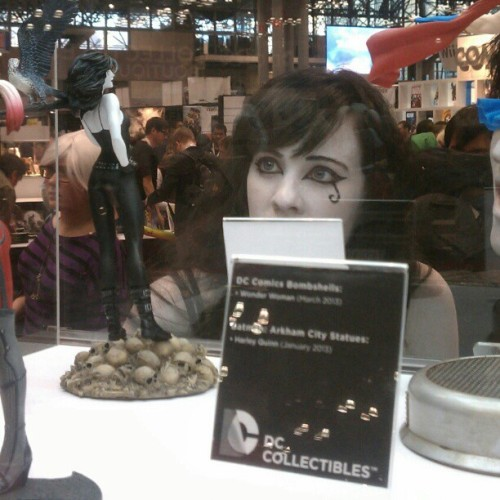 randalltrang:  My favorite shot from #NYCC: Death sees herself in figurine form. (Taken with Instagram) EDIT TO ADD: If anyone knows who this wonderful cosplayer is, let me know! She left before I got to say anything to her, but I'd like to share it with her! If I don't get a response, I'll assume this is Death herself and she was making her annual visit to our realm.  This is so peachy keen.