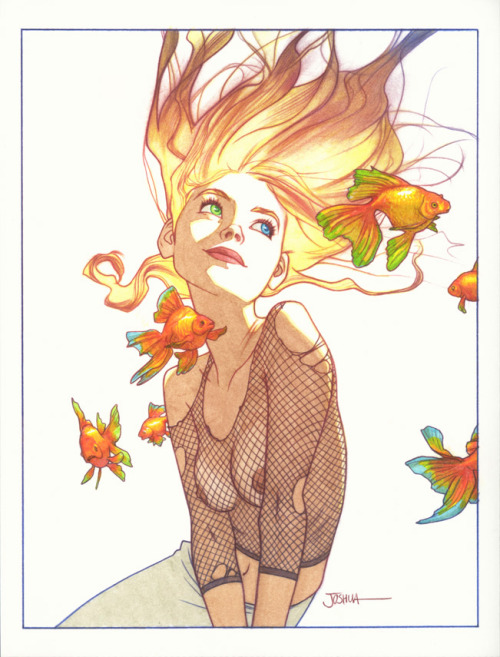 mrdreadful:  comicbookwomen:  Joshua Middleton  I am following my fishie. La la laaaa. Because my fish knows where to go. My fish is the Borghal Rantipole who I made look like a fishie because I am so clever and I can do things like that if I want… La la la… It knows many thingummies.