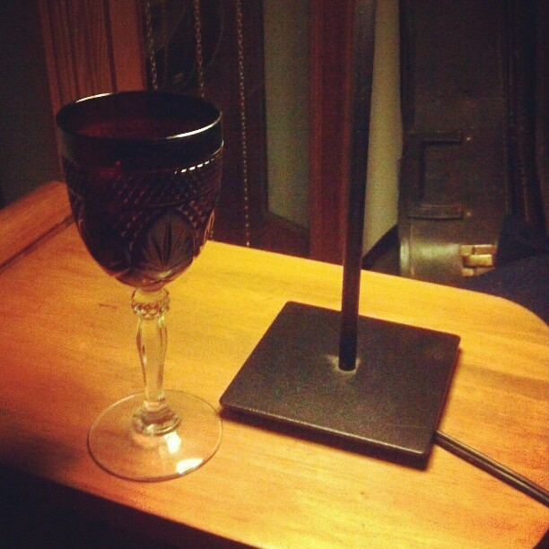 Red wine glass and redrum. Halloween is a lifestyle, and the Shining is on tv.