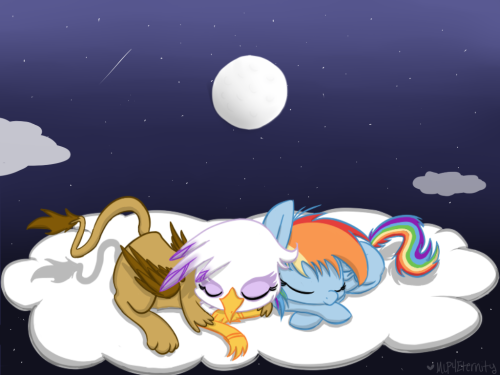 mlp4eternity:  Gilda and Dashie As kids Sleeping on a cloud In the night sky. You're welcome.