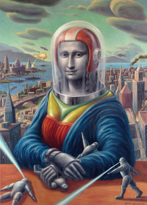 isupportfairuse:  Mona and the Metal Men — Mark Bryan, 2006 Another piece based on the Mona Lisa, this one exemplifying a transformative use of Fair Use, recasting the Mona we're all familiar with as a space helmeted protector of robots hellbent on invading a distant metropolis.  Tell me you wouldn't watch this, and I'll know you as a filthy liar.