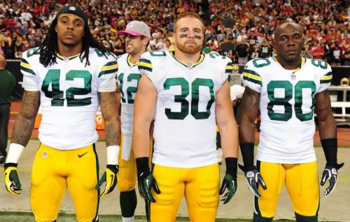 2012 Week 6: @ Houston Texans Left to right: Morgan Burnett, John Kuhn, Donald Driver