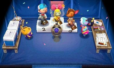 animalcorpsewii:  gothamcrossing:  princesselmo999:  Fish Tourney ♪───O(≧∇≦)O────♪  WHO IS THE BLUE THING NEXT TO THE STANDS ON THE RIGHT?!  IT'S A COW….IS  SHE WITH CHIP?CHIP X BLUE COW 5ever.   Well, seeing as she is opposite Hamsuke, and She is wearing one of the CF GracieGrace shirts, I'd say she's a new cow villager!