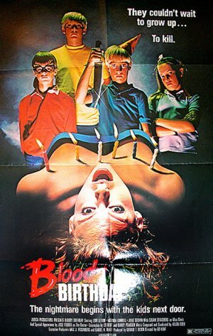Bloody Birthday (1981)10/10/12 reviewThree babies are born in the same small town of Meadowlands, CA at the same time during a solar eclipse. Almost ten years later they're all friends and they're about to celebrate their 10th birthday. Instead of new shiny bikes or toys these kids want blood, and lots of it. This film is just a good damn time, plenty of nudity, a lot of boobs and things done to boobs that you don't see nowadays. Lots of blood, and these little rascals know how to play innocent right after committing gruesome crimes. The film has a nice pace, the whole movie goes pretty smoothly and doesn't take too long to get things rolling. The blood is what you expect from an 80's slasher film, a lot of cheesiness but a lot of cool deaths (arrow through eye)!  A very fun movie with a lot of death. If you can watch it I strongly suggest that you do if you're looking for an awesome popcorn slasher flick! Don't forget the cake. 7/10 rotting corpsesC. Vengeance