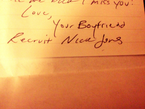 Boyfriend signs his letter perfectly.