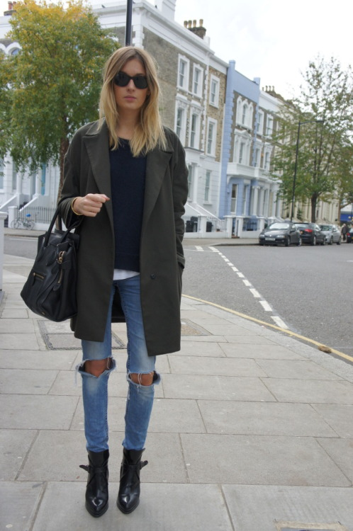 Topshop Boutique coat, Sandro sweater, H&M jeans, Zara boots, Celine bag [source: camilleovertherainbow]