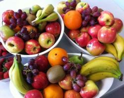 "thin-kbeforeyoueat:   YUM! The weekly fruit my office provides never ceases to make my mouth water. And in honour of eating healthy this week, here some fun fruit facts incase you ever find yourself on Millionaire:  A banana is considered a berry   There is a theory that strawberries were named by 19th century children who picked the fruit, strung them on grass straws, and sold them as ""Straws of berries"".    Have you ever bobbed for apples? Apples are 25% air.    Pumpkins & avocados are fruits, not veggie   An orange's vitamin C content helps fight back assaults from viruses and germs, cold and fatigue.    Red fruit helps your heart, orange fruit helps your eyes, green fruit helps your bone n' teeth, yellow fruit helps prevent sickness & blue/purple fruit help your memory – or so they say!   Bananas are actually an herb, not a fruit. It is in fact the world's largest herb, related to the orchid and lily familiesEating an apple is a more reliable method of staying awake than consuming a cup of coffee. The natural sugar in an apple is more potent than the caffeine in coffee.   Watermelon is 92% water.   Cabbage is 90 % water.    Carrots are 87% water.    Carrots were originally purple - orange carrots were not produced until the 16th century. (Coles in Australia carries  purple carrots!)    Don't ever store onions and potatoes together. They both produce gases that when in close proximity to each other, cause both of them to spoil much faster.   (Source: My Brain & Fruit Facts)   Follow me for loveliness and healthiness :)"