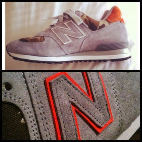 Before and After detail of the  #newbalance #574 #duckcamo #custom #sneakers #madeinamerica  (Taken with Instagram at Greenwich Vintage Co.)
