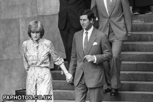Lady Diana Spencer and Prince Charles leaving their wedding rehearsal, July 1981