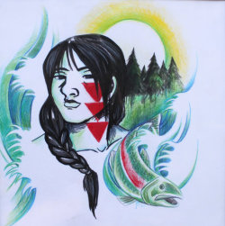 nitanahkohe:  drawing, Jennifer Ben (Chetco)  This … is a drawing I made. I mostly paint headphones now though.