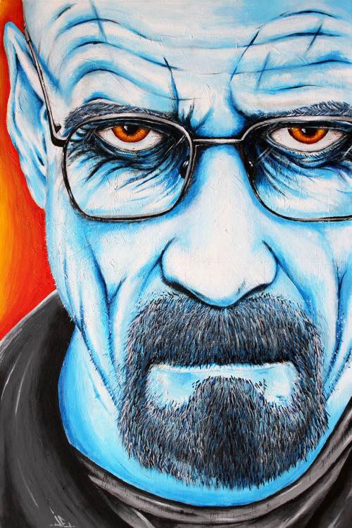jakeemeryart:  Who is Heisenberg? Purchase print @ www.jakeemeryart.com  ~ I really really like this. Jake has captured Walt's mad stare to perfection and coloured him blue. How appropriate!