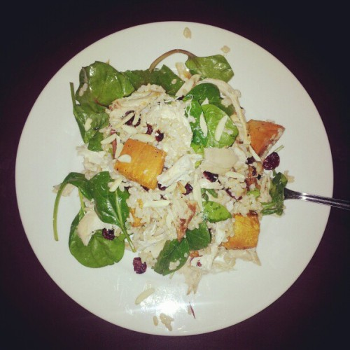 Dinner-a salad of roast chicken and sweet potato, spinach, rocket, brown rice, cranberries and almonds. Yum! (Taken with Instagram)