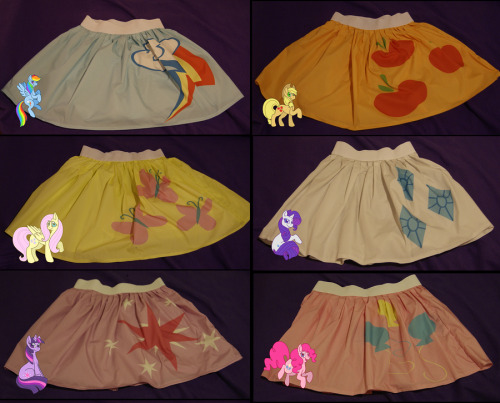 Cutie Mark skirts! Each one is 19 inches long, made of cotton sateen, has an elastic band, and is available for $39.99 USD. Each one is custom made to fit based on your specifications. You'll need to order before Tomorrow, October 16th, to ensure you get it by Halloween Nightmare Night for your pony costume! Rainbow Dash | Applejack | Fluttershy | Rarity | Twilight Sparkle | Pinkie Pie