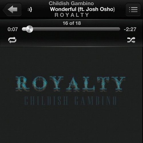Jamming out💙 #Royalty #ChildishGambino #Childish #Gambino #Donald #Glover #DonaldGlover #Music #Is #Bomb #And #Boom #Goes #The #Dynamite #Album  (Taken with Instagram)