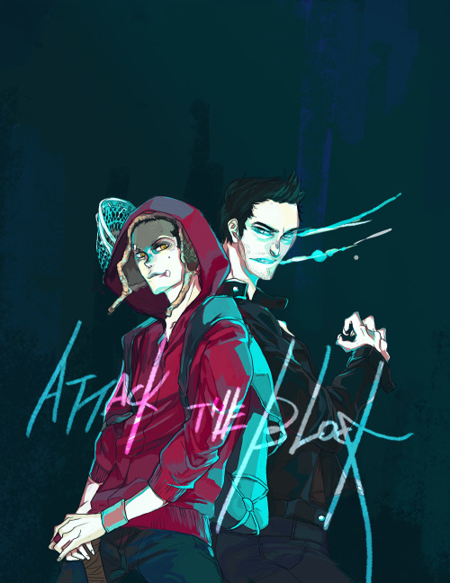 hyperwolf:  imdrawinggaywolves:  AU!Sterek: Attack the Block IDK it seemed like a cool idea in my head if Stiles were one of the gangs and Derek was the creepy neon-glowing wolf like alien thingies. I really didn't want to work C':.  OMG A MILLION TIMES YES  Yessss