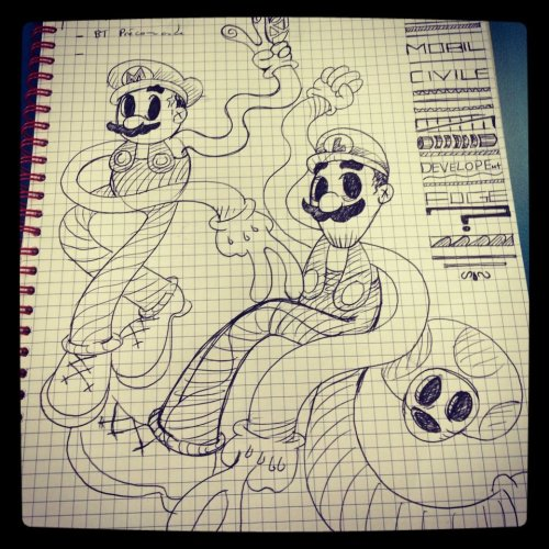 Test for a future black and white hand draw. Mario and luigi's universe