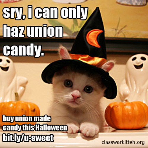 moofable:  classwarkitteh:  Buy union this Halloween.  For some reason, KitKats aren't listed under Nestle despite being a Nestle product.  They're on the list. Hershey has the license for KitKats in America.