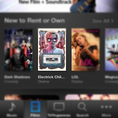 #Electrickchildren artwork on the iTunes movie homepage. #pinchesself (Taken with Instagram)
