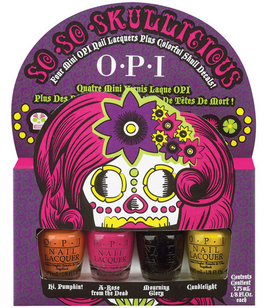 O-P-I Halloween Collection minis featuring Pumpkin, A-Rose from the dead, Mourning glory and candlelight