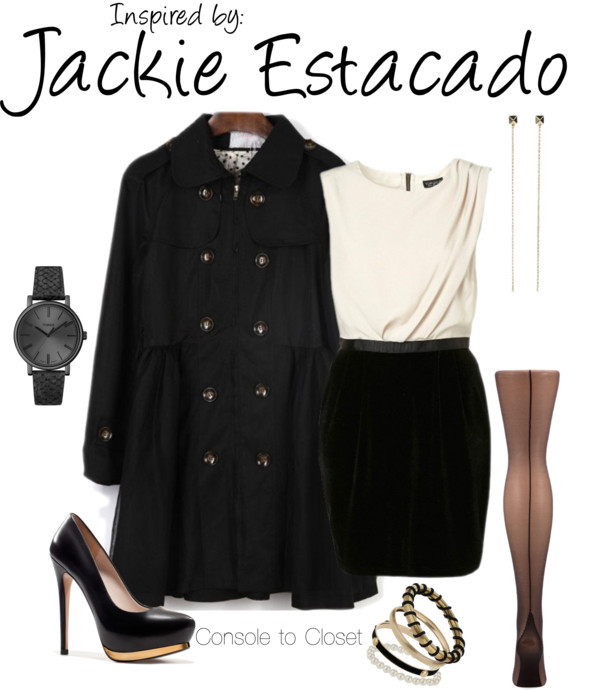 Jackie Estacado (The Darkness) by ladysnip3r featuring zara shoes  This outfit is inspired by the protagonist of The Darkness, Jackie Estacado. I wanted to do something dressy, but still look a little mobster-ish. I chose a black coat, paired with a beautiful white and black dress. I also chose black and gold accessories to compliment the outfit. I chose long earrings to represent the darkness that comes out of him. (Reference Image)   Black white dress / Trench coat / Black tight, $9.63 / Zara  shoes / Timex / Jules Smith chain earrings / Miss Selfridge pearl bangle