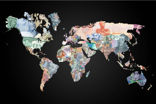 explore-blog:  Amazing map of the world with each country depicted in its national currency. More striking currency art here.  our money is so green. we should throw a bit more color in there.