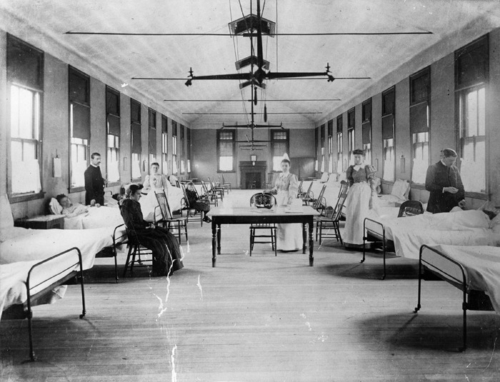 Early 1900s view inside Atlanta's Grady Hospital.  Browse and order prints from our collection.
