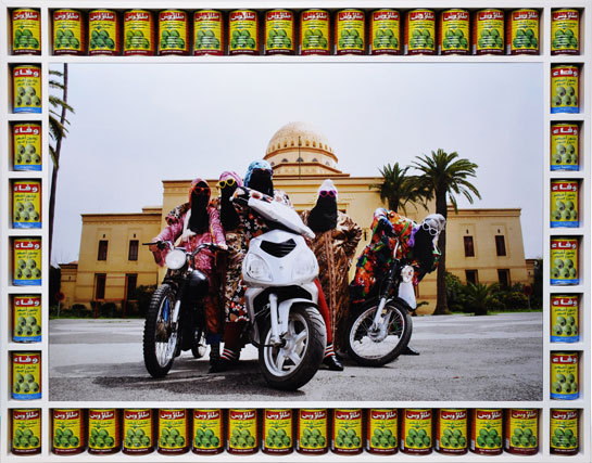 "dynamicafrica:  HASSAN HAJJAJ: KESH ANGELS British-Moroccan artist Hassan Hajjaj captures the unique atmosphere and upbeat rhythm of north-African street iconography with great warmth and humour. In this new solo show of photographs and installations, he pays tribute to the biker culture of the young women of Marrakesh – the 'Kesh Angels. Directing them in theatrical poses with their scooters, motorcycles and colourful outfits, he creates images that reflect their strength, style and street-smart attitude. In veils and djellabah, the 'Kesh Angels respect a certain tradition, but their presence is defiantly modern. Hajjaj then juxtaposes these portraits with ephemera from the Medina in unique, handmade frames and bright, Pop-Art colours. The highlight of the exhibition is an installation of Hajjaj's customised motorbike, ""881-Motobecane"": covered in fashion logos and kitscheries, it is the perfect symbol of the youth, independence, fun, sociability and sunshine of Morocco. Hassan Hajjaj was born in 1961 in Larache, Morocco and moved to London in 1975. He now works in between London and Marrakech. He has established an international following for his photography, and was shortlisted for the Jameel Prize 2009 at the Victoria & Albert Museum, London. He has had numerous solo and group shows in the UK and internationally, and also designs clothing, album covers (for Momo, Blur and Pino Daniele); hotels (Riad Yima, Marrakesh, 2006); bar-restaurants (Andy Wahloo, Paris 2003); and installations. His work is in the permanent collection of the Victoria & Albert Museum, London. (source)"