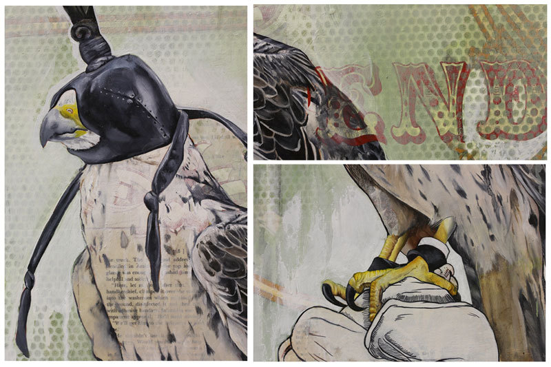 "detail shots of ""endgame""oil + mixed media on cradled panel21.25 x 21.25 inches [54 x 54 cm]"