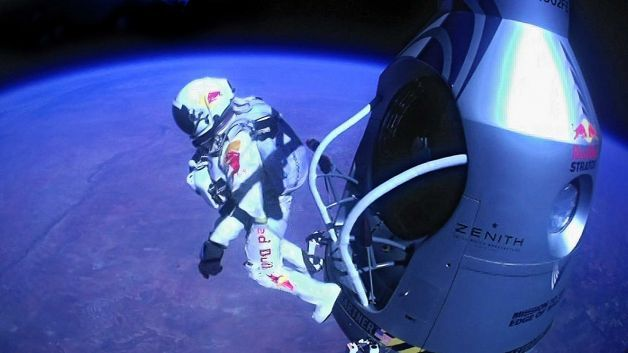 laboratoryequipment:  Skydiver Survives 24 Mile DropFelix Baumgartner stood alone at the edge of space, poised in the open doorway of a capsule suspended above Earth and wondering if he would make it back alive. Twenty four miles below him, millions of people were right there with him, watching on the Internet and marveling at the wonder of the moment.A second later, he stepped off the capsule and barreled toward the New Mexico desert as a tiny white speck against a darkly-tinted sky. Millions watched him breathlessly as he shattered the sound barrier and then landed safely about nine minutes later, becoming the world's first supersonic skydiver.Read more: http://www.laboratoryequipment.com/news/2012/10/skydiver-survives-24-mile-drop  Amazing, would love if I tried it.